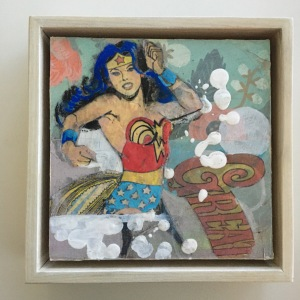 a photograph of an original art piece called Ready for Battle by artist Marjolyn van der Hart. The image is of Wonder Woman and the word Great.